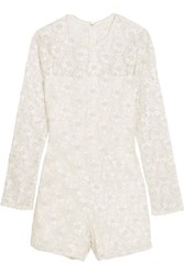 Alexis Paulette Corded Lace Playsuit White