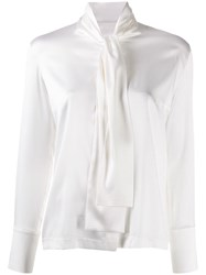D.Exterior Pussy Bow Blouse White