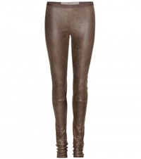 Rick Owens New Simple Leather Leggings Brown