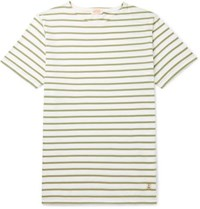 Armor Lux Slim Fit Striped Cotton Jersey T Shirt Green