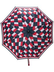 Thom Browne Argyle Crooked Handle Umbrella Red