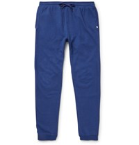 Derek Rose Devon Tapered Brushed Cotton Jersey Sweatpants Blue