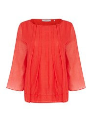 Marella Liquore 3 4 Sleeve Pleated Front Blouse Red