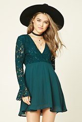 Forever 21 Crochet Lace Combo Dress Teal