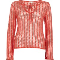 River Island Womens Orange Open Mesh Lace Up Front Top