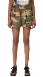 Marc Jacobs Cargo Camo Pocket Shorts Military Green Multi