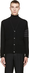 Thom Browne Black And Grey Striped Armband Cardigan