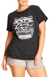 City Chic Plus Size Graphic Tee Charcoal