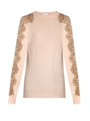 Raey Lace Sleeve Cashmere Sweater Nude