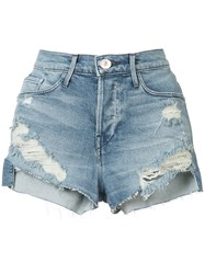 3X1 Ripped Denim Shorts Women Cotton Polyester Spandex Elastane 26 Blue