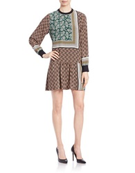 Essentiel Printed Silk Drop Waist Dress Grey Multi