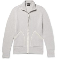Tom Ford Slim Fit Suede Trimmed Ribbed Cashmere Zip Up Cardigan Light Gray
