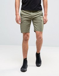 Asos Skinny Cargo Shorts In Khaki Burnt Olive Green