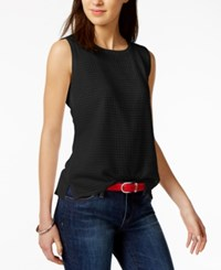 Tommy Hilfiger Crochet Contrast Shell Only At Macy's Black
