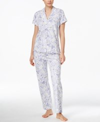 Charter Club Notch Collar Pajama Set Only At Macy's Violet Garden