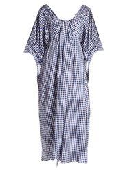 Teija Square Neck Cotton Gingham Dress Blue Multi