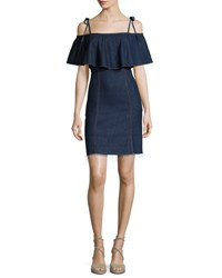 7 For All Mankind Off The Shoulder Denim Mini Dress Blue