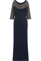 Badgley Mischka Bead Embellished Tulle Paneled Crepe Gown Midnight Blue