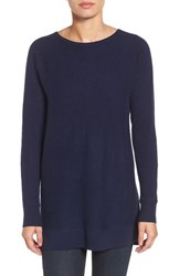 Halogenr Petite Women's Halogen High Low Wool And Cashmere Tunic Sweater Navy Peacoat