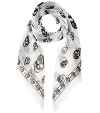 Alexander Mcqueen Skull Printed Scarf White