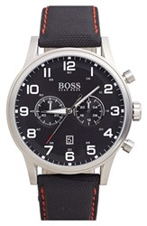 Boss Men's Chronograph Textured Leather Strap Watch 44Mm