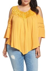 Democracy Plus Size Women's Asymmetrical Cold Shoulder Top Bright Teal
