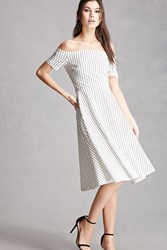 Forever 21 Striped Cross Back Swing Dress Black White