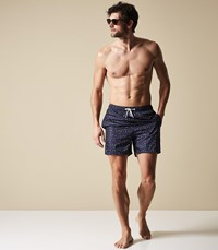 Reiss Starry Star Fish Print Swim Shorts In Navy