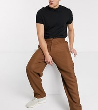 Noak Wide Leg Trousers In Camel Brown