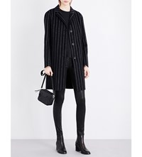Rag And Bone Sidney Pinstriped Wool Cashmere Blend Coat Black White