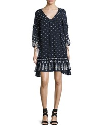 Derek Lam Bell Sleeve Embroidered Ruffle Dress Navy