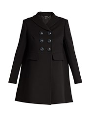Alexander Mcqueen Double Breasted Wool And Silk Blend Coat Black