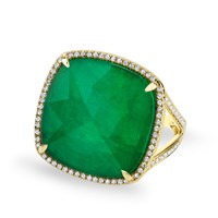Anne Sisteron Yellow Gold Emerald Diamond Triplet Cushion Cut Luxe Cocktail Ring Yellow Orange