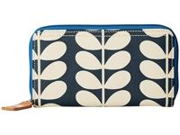 Orla Kiely Matt Laminated Tall Flower Stem Print Big Zip Wallet Jet Wallet Handbags Black