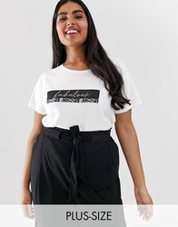 New Look Curve Fabulous Logo Tee In White