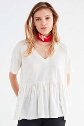 Truly Madly Deeply V Neck Babydoll Tee Ivory