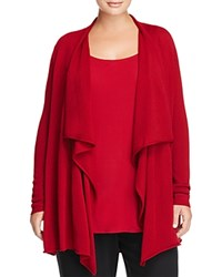 Eileen Fisher Plus Merino Wool Cascade Cardigan China Red