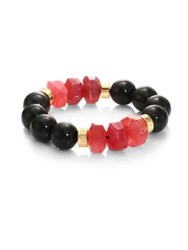Nest Horn And Agate Stretch Bracelet Black Horn