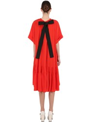 Rochas Silk Crepe De Chine Dress W Bow Red