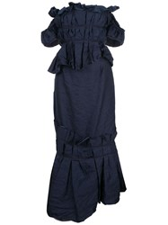 Brock Collection Off The Shoulder Fitted Dress Blue