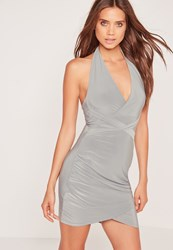 Missguided Wrap Waist Slinky Halterneck Dress Grey Grey
