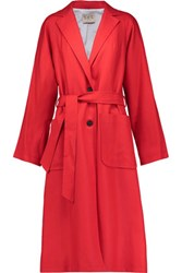 Sea Belted Wool Coat Red