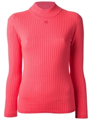 Courreges Classic Rib Pull Over Sweater Pink And Purple