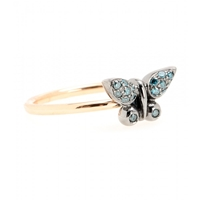 Roberto Marroni 18Kt Gold Butterfly Ring With Blue Diamonds