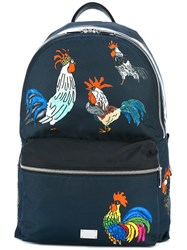 Dolce And Gabbana Volcano Rooster Print Backpack Blue