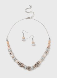 Dorothy Perkins Pink Pearl Earrings And Necklace Set Cream