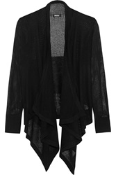 Dkny Open Knit Silk And Cashmere Blend Cardigan Black