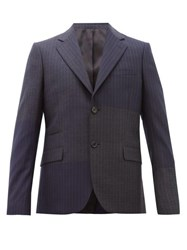Stella Mccartney Pinstriped Single Breasted Wool Blazer Navy