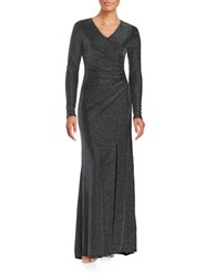 Vince Camuto Metallic Ruched Gown Black Silver