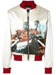 Palm Angels Printed Bomber Jacket Nude And Neutrals